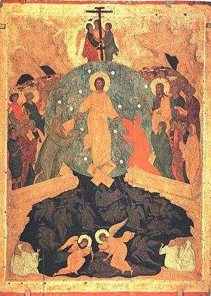 Easter Saturday - Russian Orthodox icon of the Resurrection, by Dionisius, 15th century (State Russian Museum, Saint Petersburg)