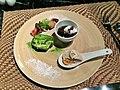 Dessert- coffee jelly, ginger ice cream and banana, matcha cake, mochi and fruit.jpg
