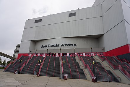 On December 27, 1979, the Detroit Red Wings played their first game at Joe Louis Arena, moving from the Olympia. Detroit December 2015 59 (Joe Louis Arena).jpg