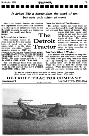 "Mechanised agriculture - ""Better and cheaper than horses"" was the theme of many advertisements of the 1910s through 1930s."