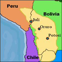 Location of the three Diablada places of origin. Altiplano region labeled as yellow on map.