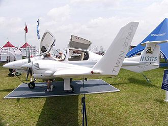 Diamond DA42 - A DA42 on static display; note the prominent winglets