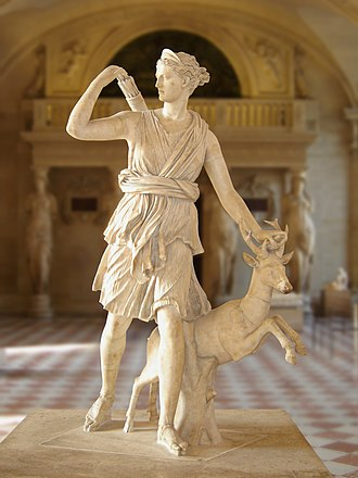 Diana (mythology) - The Diana of Versailles, a 2nd-century Roman version in the Greek tradition of iconography (Louvre Museum, Paris).