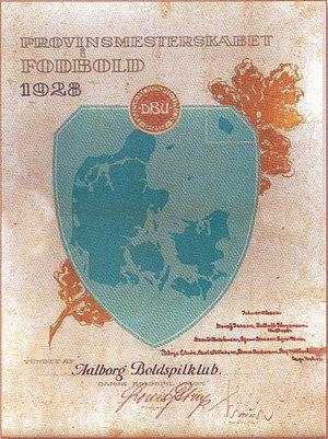 1928 Provinsmesterskabsturneringen - Image: Diploma Aalborg Boldspilklub Provinsmesterskabet i Fodbold 1928