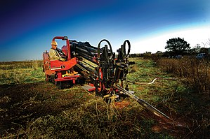 Directional drilling - A horizontal directional drill in operation