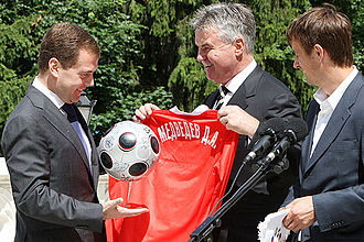 Russia national football team - Manager Guus Hiddink and midfielder Sergei Semak meet the President of Russia, Dmitry Medvedev, after reaching the semi-finals of Euro 2008