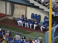 Dodger Bullpen Waiting for Game to Begin, Dodger Stadium, Los Angeles, California (14516793882).jpg