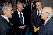 Donadoni (a sinistra) con Matarrese, Abete e Napolitano.