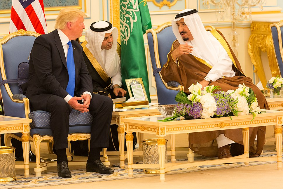 Donald Trump and King Salman bin Abdulaziz Al Saud talk together, May 2017