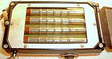 Хорошо видны 4 счётчика Гейгера СБМ-20 и часть корректора спектра чувствительности (свинцовая фольга справа) .