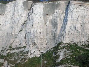 White Cliffs of Dover - Cliffs, showing multiple layers of flint