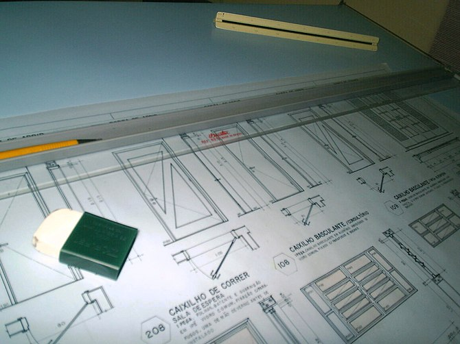 View of a drafting table: the old way of produ...