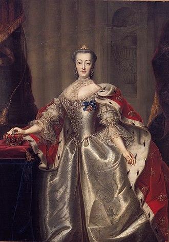 Sophie Magdalene of Brandenburg-Kulmbach - Portrait by Andreas Brünniche, c. 1740