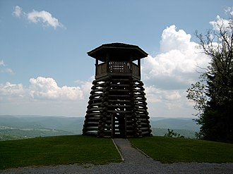 Droop Mountain Battlefield State Park - Observation tower overlooking the Greenbrier River valley.