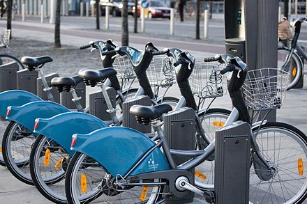 Dublinbikes terminal in the Docklands Dublin Bikes.jpg