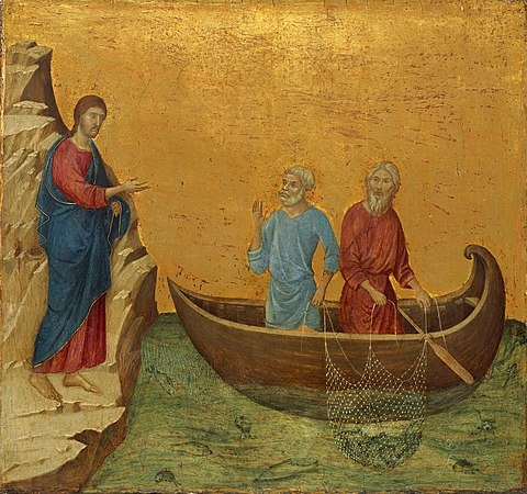 The Calling of the Apostles Peter and Andrew (from the Maesta), c. 1308-1311 Duccio di Buoninsegna 036.jpg