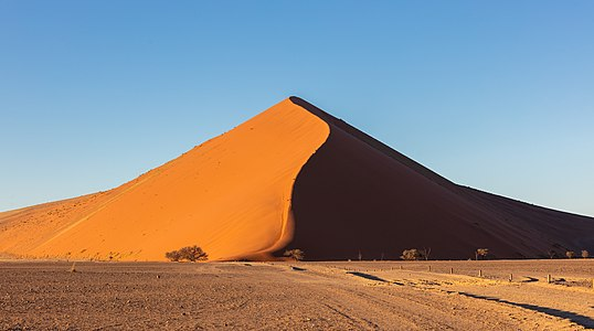 Dune just after sunrise in Sossusvlei, Namib-Naukluft National Park, Namibia.