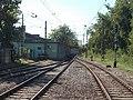 Dunaharaszti külső HÉV station, exit railway points and signal, 2019 Dunaharaszti.jpg