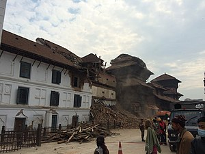 April 2015 Nepal earthquake - Damage in the Basantpur Durbar Square.