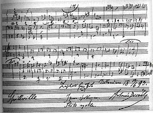 "String Quartet No. 12 (Dvořák) - The last page of the autograph score with Dvořák's inscription: ""Finished on 10 June 1893 in Spillville. Thanks God. I'm satisfied. It went quickly."""