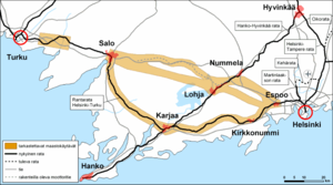 Rail transport in Finland - Proposed alignment options for a new Helsinki - Turku railway line