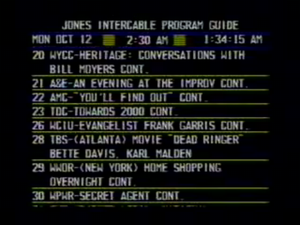 Electronic program guide - The EPG Channel, an electronic program guide (EPG) from 1987.