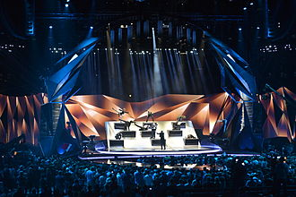 Eurovision Song Contest 2013 - The stage with its movable parts and the audience closely surrounding it during the opening act of the second semi-final