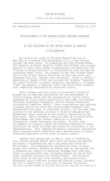 File:ESTABLISHMENT OF THE FREEDOM RIDERS NATIONAL MONUMENT.pdf