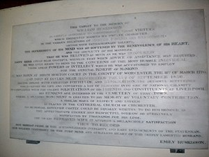 William Huskisson - Image: Eartham church inscription Emily Huskisson