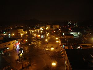 East Lansing, Michigan - Downtown East Lansing at night overlooking Albert Street.