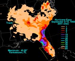 Hurricane Easy S Rainfall Across The Southeastern United States