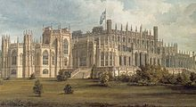 A large, elaborate, Gothic-style house, with multiple towers and pinnacles