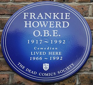 Frankie Howerd - Blue plaque at Edwardes Square, London, UK