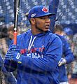 Edwin Encarnacion takes batting practice before the AL Wild Card Game. (29856700490).jpg