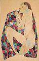 Egon Schiele - Weiblicher Akt auf kariertem Tuch - 1911.jpeg