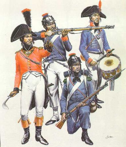 French soldiers from the 1798-1801 Egyptian campaign (left to right, clockwise): line infantry officer, line infantryman, line drummer, light infantryman. EgyptFrInf2Lg.jpg