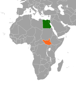 Map indicating locations of Egypt and South Sudan