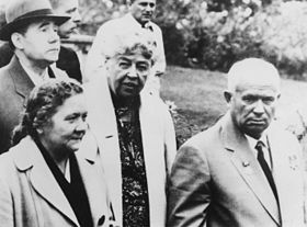 Eleanor Roosevelt, Nikita and Mrs Khrushchev, and Andrei Gromyko at the Franklin D. Roosevelt Library in Hyde Park - NARA - 196281.jpg
