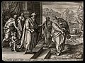Elijah is led to his confrontation with King Ahab. Engraving Wellcome V0034325.jpg