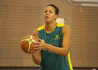 Away colours - Elizabeth Cambage in Australia's away colours