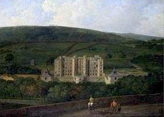 Chatsworth House - 17th-century painting of the west front of the Elizabethan Chatsworth