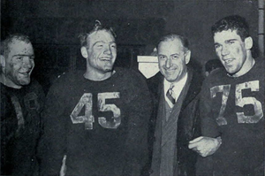 Pete Elliott - Bump Elliott, Pete (No. 45), Fritz Crisler and Bruce Hilkene (No. 75) celebrate 1947 Big 9 championship after defeating Wisconsin.