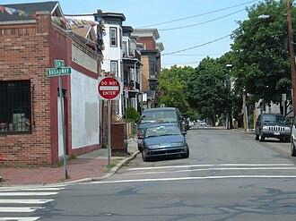 Interstate 695 (Massachusetts) - A block of Elm Street in Cambridge, Massachusetts along the proposed route of the Inner Belt.