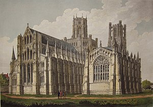 Liber Eliensis - Early 19th-century print of Ely Cathedral, where the Liber Eliensis was produced