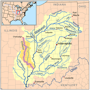 Embarras River (Illinois) - Map of the Embarras River highlighted within the Wabash River watershed