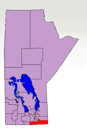 Emerson (electoral district) - 1998-2011 boundaries of Emerson highlighted in red.