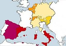 Europäischer Herrschaftsbereich Karls V., der im Jahre 1519 zum römisch-deutschen König bzw. Kaiser gewählt wurde. Kastilien (weinrot)Besitzungen Aragons (rot)Burgundische Besitzungen (orange)Österreichische Erblande (gelb)Heiliges Römisches Reich (blassgelb) (Quelle: Wikimedia)