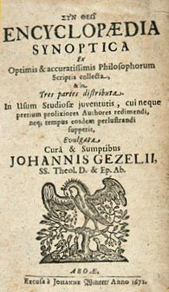 Johannes Gezelius the elder - Encyclopaedia synoptica