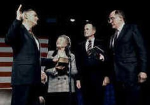 James D. Watkins - Watkins is sworn in as Energy Secretary. From left to right: James Watkins, Sheila Watkins, Chief Justice William H. Rehnquist, President George H. W. Bush.