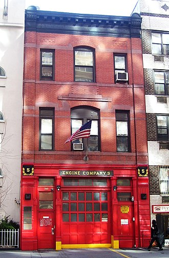 Organization of the New York City Fire Department - The quarters of Engine 5, located in Gramercy Park, Manhattan